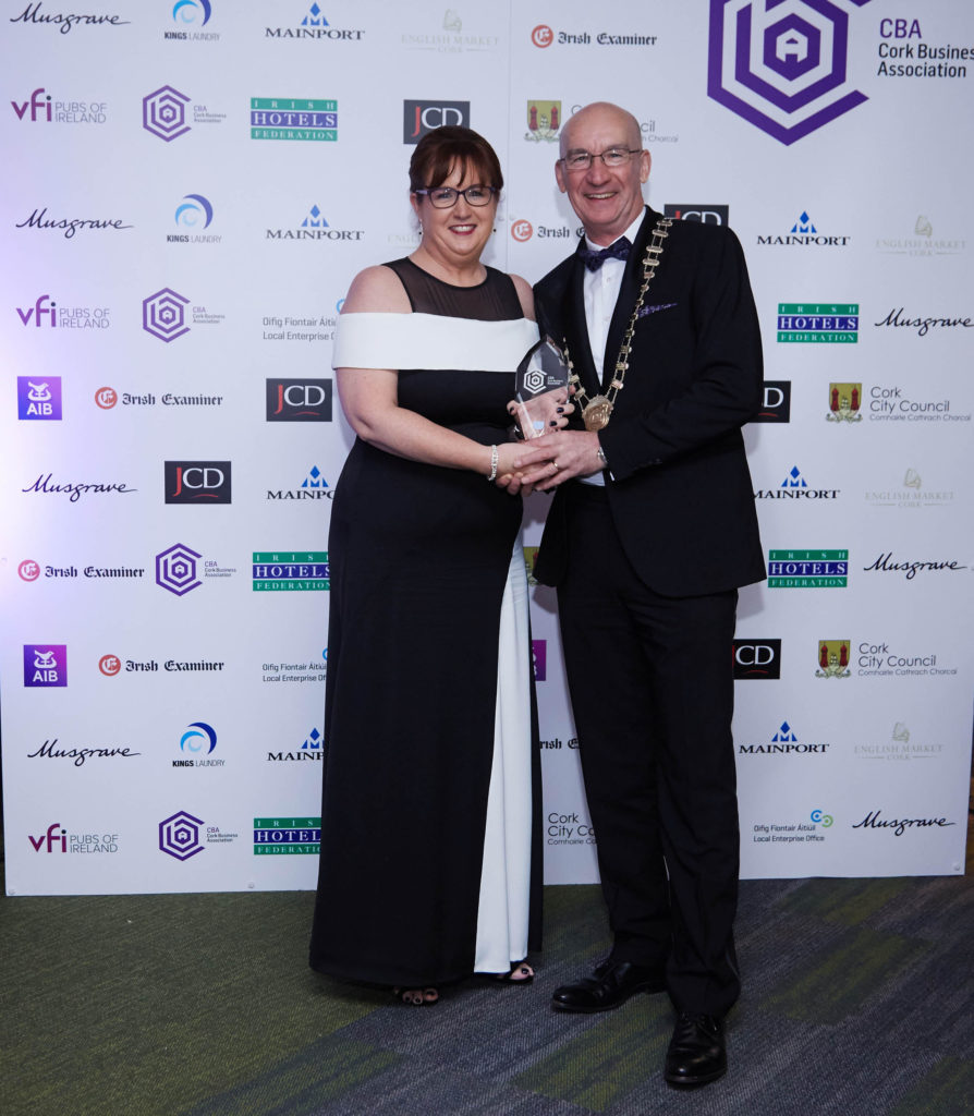 Ann-Marie O'Sullivan, Chief Executive and Founder at AM O'Sullivan PR, receiving the award for Best Professional Services Business 2017 from Pat O'Connell, President of the Cork Business Association, at Páirc Uí Chaoimh. Picture: Miki Barlok