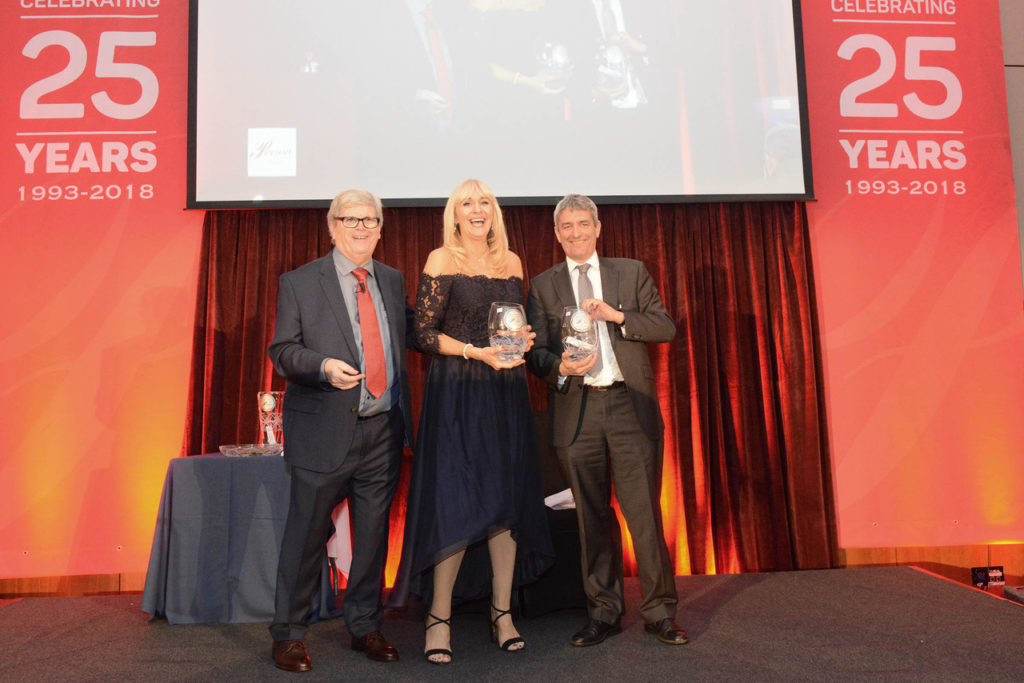 On stage at the Cork Person of the Year Award were organiser Manus O'Callaghan with Miriam O'Callaghan and David McCullagh. Photo: Martin Collins, Europhoto.