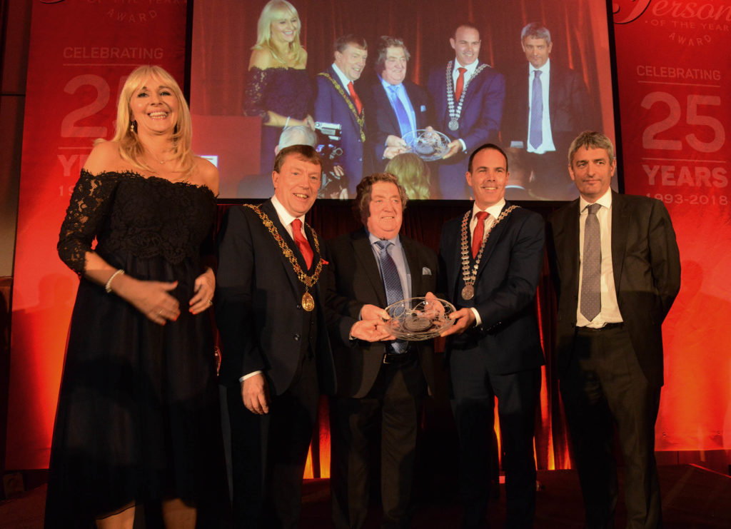 Miriam O'Callaghan, MC, RTÉ, Lord Mayor of Cork Cllr Tony Fitzgerald, Cork Person of the Year 2017 winner Bob Seward, Cork County Mayor Cllr Declan Hurley, and David McCullagh, RTÉ.  Photo: Martin Collins, Europhoto.