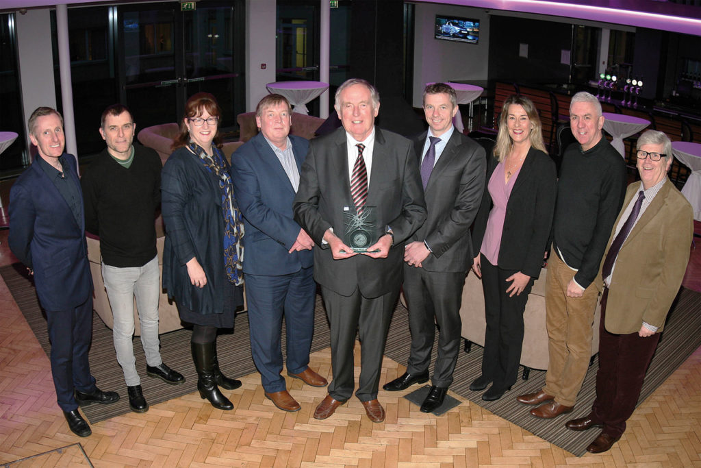 Pictured at the award to mark Dr Con Murphy's work for decades of Cork hurling and football teams were (l-r): George Duggan, Cork Crystal; Philip Healy, Southern; Ann-Marie O'Sullivan, AMO'Sullivan PR; Pat Lemasney, Southern; Dr Con Murphy, February Person of the Month; John Lehane, Lexus Cork; Deirdre and Ger Cunningham; Manus O'Callaghan, Awards Organiser. Photo: Tony O'Connell Photography.