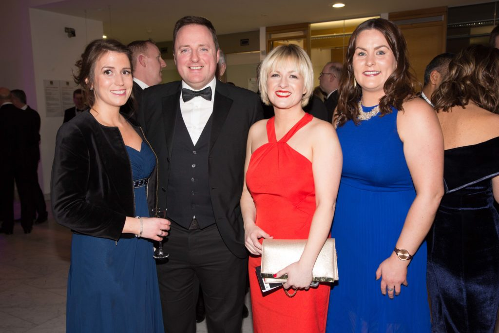 Brenda Murphy, Account Manager, AM O'Sullivan PR, Declan Casey, Standpoint Media, Deirdre O'Shaughnessy, 96FM and Orla Clancy, Senior Account Manager, AM O'Sullivan PR at the Cork Chamber Cork Company of the Year Awards in Cork City Hall. Photo: Darragh Kane