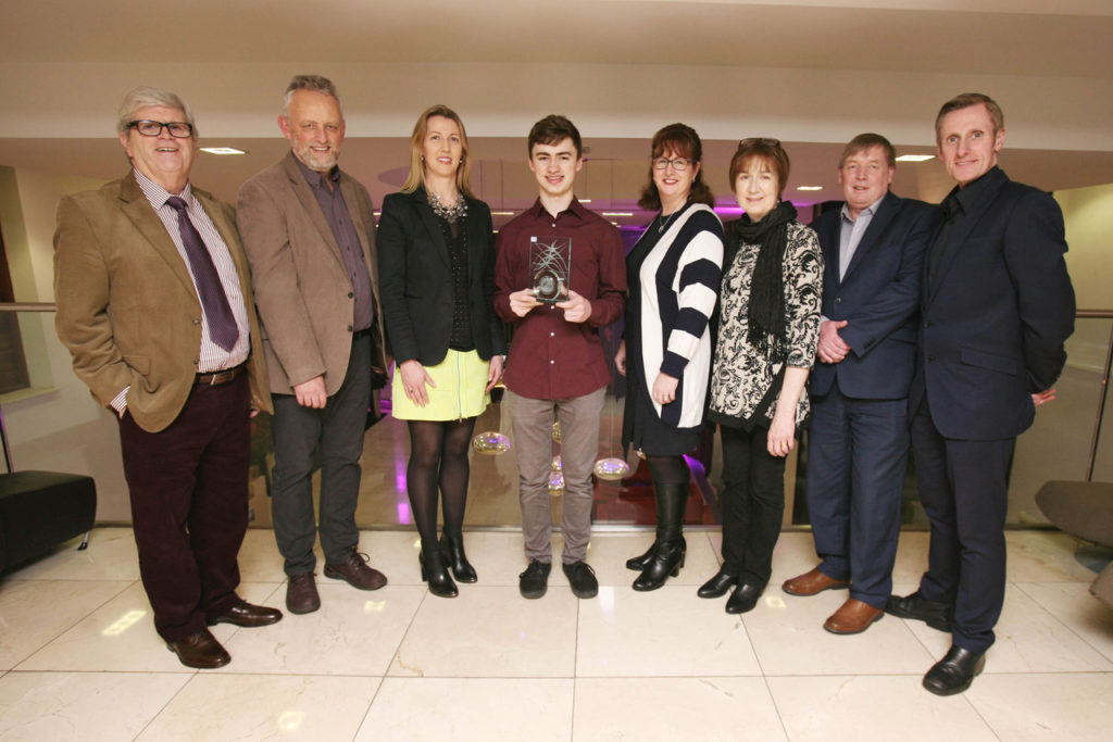 17-YEAR-OLD MUSICIAN Kevin Jansson from Wilton, Cork, is January's Cork Person of the Month. Pictured at the award presentation were: (l-r) Manus O'Callaghan, Awards Organiser; Tom Jansson, Kevin's father; Niamh Lehane, Lexus Cork; Kevin Jansson, January Cork Person of the Month; Ann-Marie O'Sullivan, AMO'Sullivan PR; Marion Jansson, Kevin's mother; Pat Lemasney, Southern; George Duggan, Cork Crystal. Photo: Tony O'Connell Photography