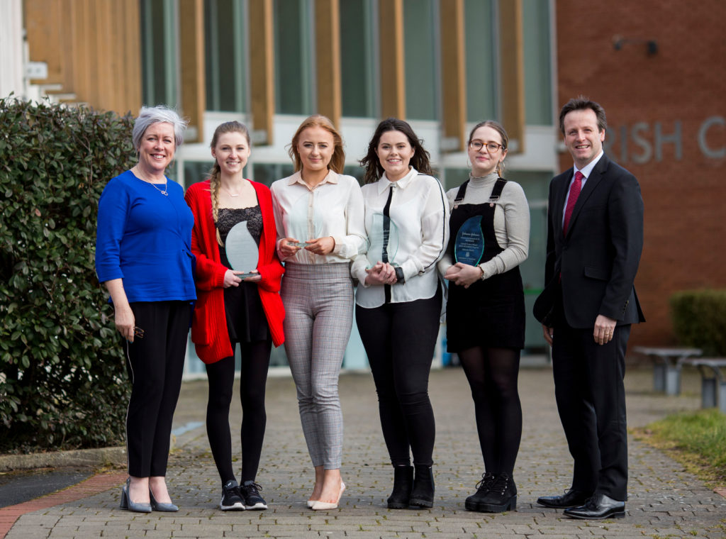 The WiSTEM2D winning project group was Shauna O''Meara, studying Biomedical Engineering from Carrick-on-Suir, Alice Parkes, studying Pharmaceutical and Industrial Chemistry from Ballyneety, Co Limerick, Roisin Molloy, studying Chemical and Biochemical Engineering from Oughterard, Co Galway and Wiktoria Brytan, studying Industrial Biochemistry from Waterford with their WiSTEM2D mentor Jane Ann Fitzgerald and Kyran Johnson, General Manager, Janssen Supply Chain Ireland. Photo: Alan Place