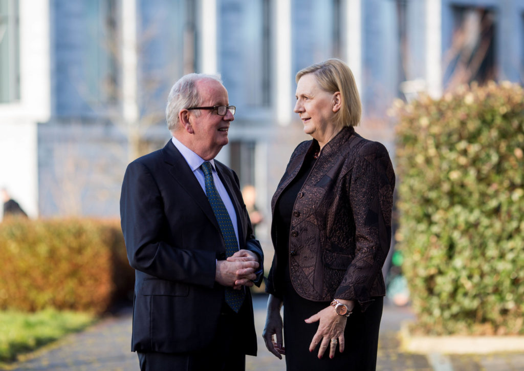 Pictured at University of Limerick's 10th annual International Women's Day conference were were President of UL Dr Des Fitzgerald, and conference chair Brid Horan, former Deputy CEO of ESB. Photo: Alan Place